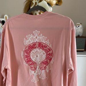 Chrome hearts long sleeve pink T-shirt